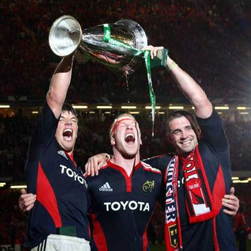 Donncha O'Callaghan, Paul O'Connell and Alan Quinlan raise the Heineken Cup trophy