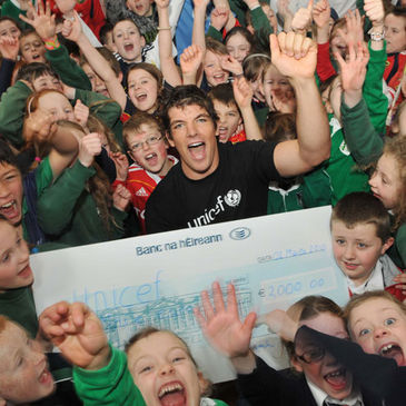 Donncha O'Callaghan in the Gaelscoil in Douglas