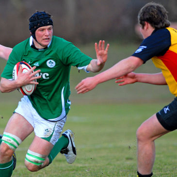 Eoghan Masterson in action for the Ireland U-18 Clubs side against Germany