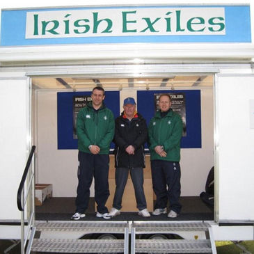 John Lacey, John Hunter and Wayne Mitchell at the Exiles stand