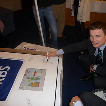 Brian O'Driscoll signs the corner flag set