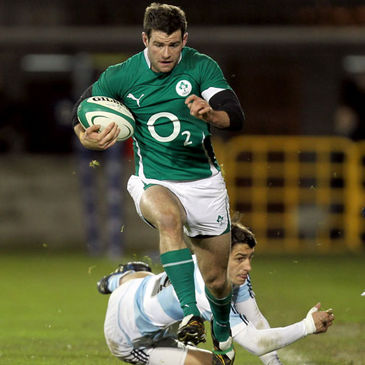 Fergus McFadden in action for the Ireland 'A' team against the Jaguares