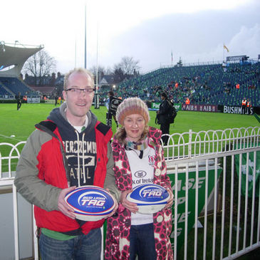 Stephen Clarke and Fiona McEvoy pre-match at the RDS