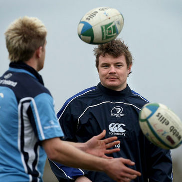 Luke Fitzgerald and Brian O'Driscoll at training