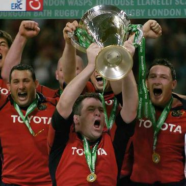 Munster's Anthony Foley lifts the Heineken Cup