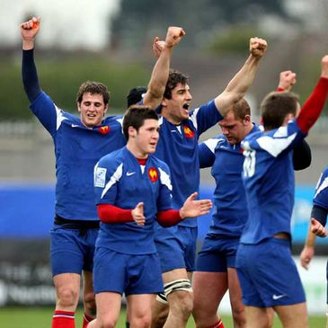 The French U-19s celebrating at Ravenhill