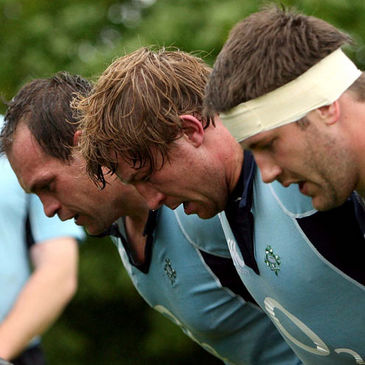 Simon Best, Jerry Flannery and Bryan Young training in Limerick