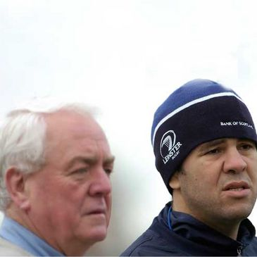 Alan Gaffney and Michael Cheika together at a Leinster training session earlier this season