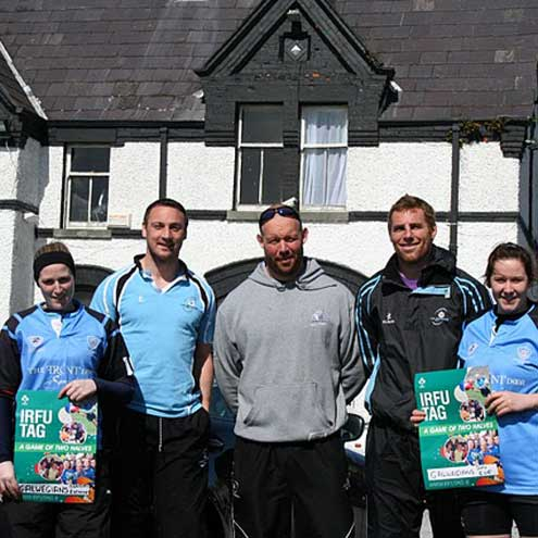 Gavin Duffy and Robbie Morris launched IRFU Tag rugby at Galwegians RFC
