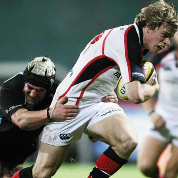 Ulster's Andrew Trimble on the charge against Glasgow