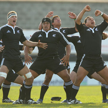 The New Zealand U-19s performing the Haka at Ravenhill