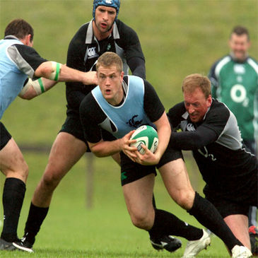 Jamie Heaslip is tackled during training at UL