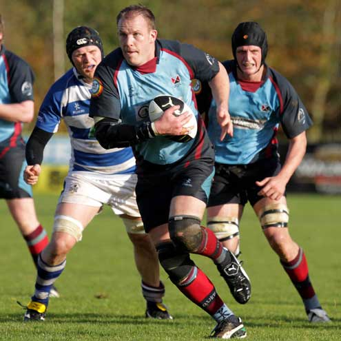Alistair Heatlie leads the charge for Belfast Harlequins