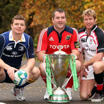 Brian O'Driscoll, Anthony Foley and Paul Steinmetz pose with the trophy