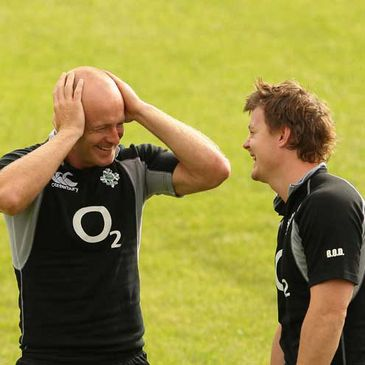 Denis Hickie and Brian O'Driscoll at training