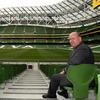 Ireland head coach Declan Kidney takes his seat in the stand as he marvels at the completed Aviva Stadium