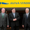 Ireland head coach Declan Kidney and Republic of Ireland manager Giovanni Trapattoni accompany Taoiseach Brian Cowen as they emerge from the Aviva Stadium tunnel