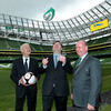 Giovanni Trapattoni and Declan Kidney are pitchside with Taoiseach Brian Cowen at the newly-opened Aviva Stadium