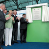 The IRFU's Philip Browne and John Callaghan are close at hand as Taoiseach Brian Cowen unveils a plaque to acknowledge the official opening of the stadium