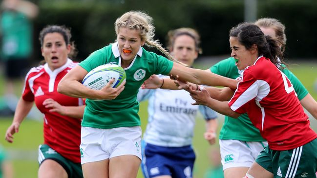 Megan Williams in action for the Ireland Sevens side