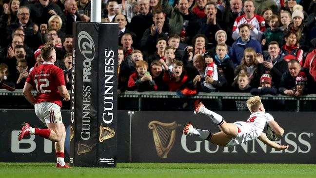 Robert Lyttle touches down for Ulster against Munster