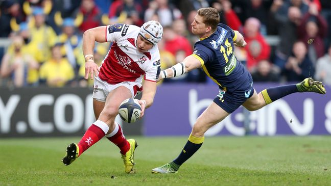 Luke Marshall touches down against Clermont Auvergne