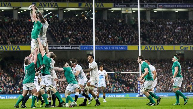 Peter O'Mahony secures lineout possession for Ireland