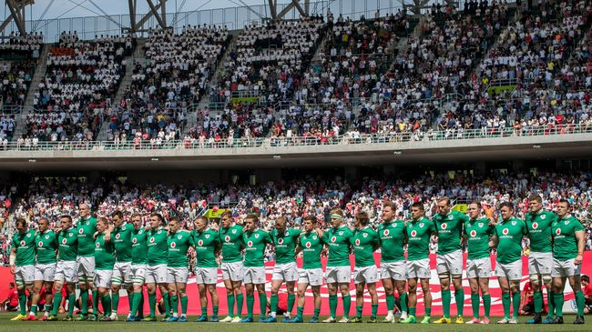 The Ireland players line up for the anthems