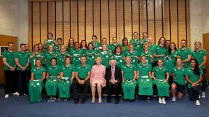 Ireland Women's Jersey Presentation With President Michael D Higgins, UCD, Tuesday, August 8, 2017