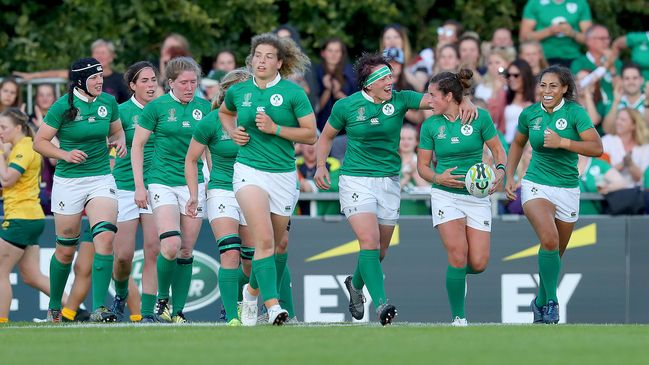 :Larissa Muldoon is congratulated after scoring Ireland's opening try