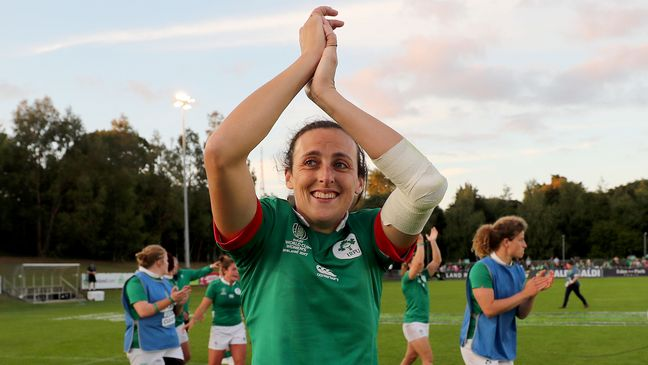 Hannah Tyrrell celebrates Ireland's opening World Cup win