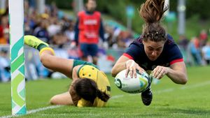 WRWC 2017: France Women 48 Australia Women 0, UCD Bowl, Sunday, August 13, 2017