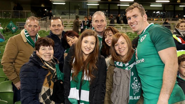 Debutant Chris Farrell with family members after the game