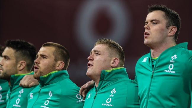 James Ryan lines up with the Ireland squad