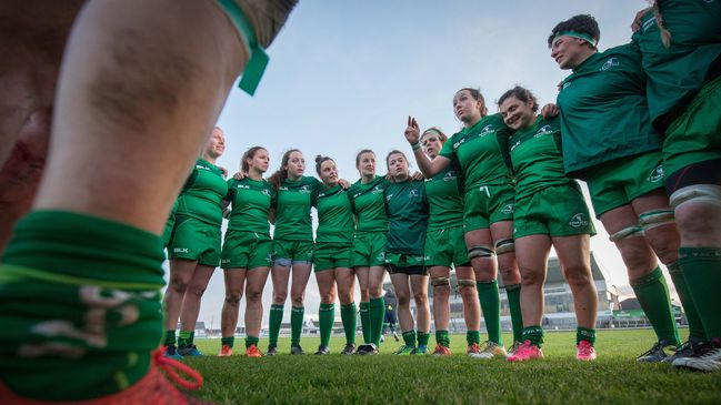 Nichola Fryday congratulates her Connacht team-mates on a job well done