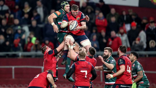 Captain Peter O'Mahony secures lineout possession for Munster