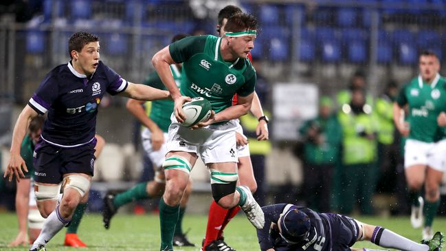Jack Dunne in action for the Ireland Under-20s against Scotland