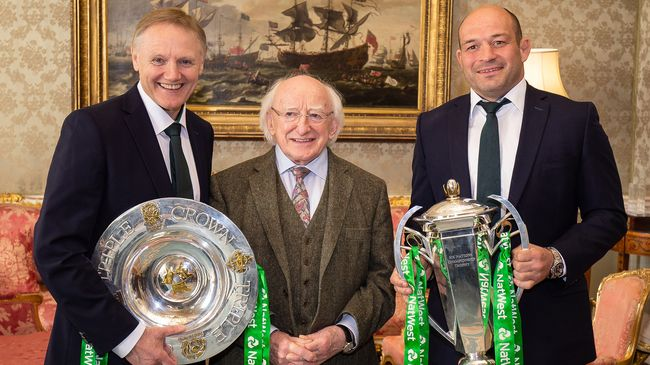 President Higgins Hosts Reception To Honour Ireland's Grand Slam Champions