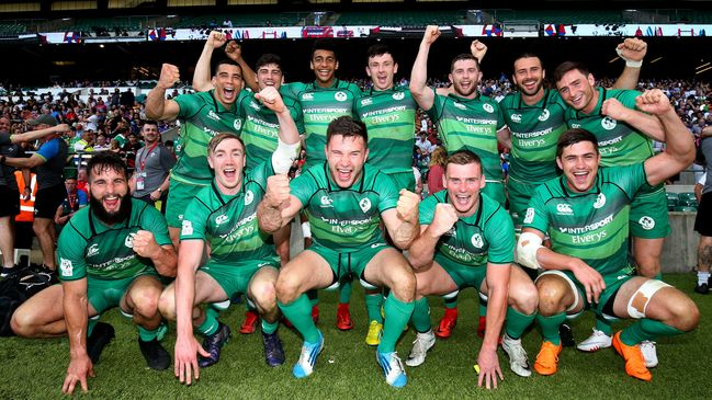 The Ireland Men's Sevens squad celebrate following the bronze final