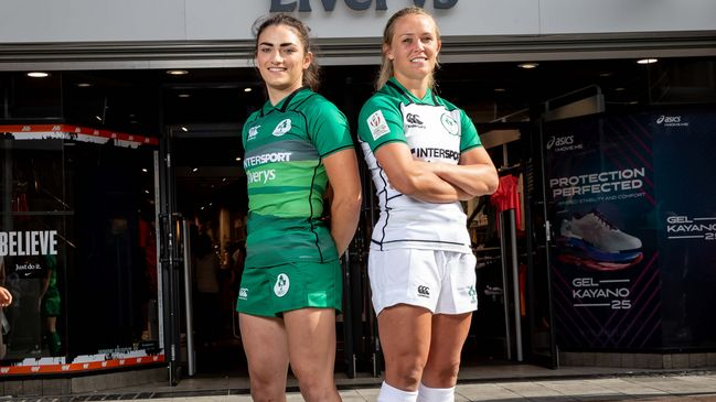 Ireland captain Lucy Mulhall and team-mate Ashleigh Baxter