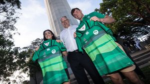 Ireland Rugby World Cup Jersey Presentation For Men's And Women's Teams, Coit Tower, San Francisco, USA, Thursday, July 19, 2018
