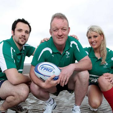 Tag rugby players Gavin Dooley, Mick Galwey and Aisling O'Brien