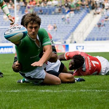 Ian Keatley stretches over for a try against Portugal