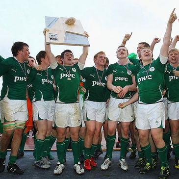 The Ireland Under-18 Schools players celebrate winning the European title
