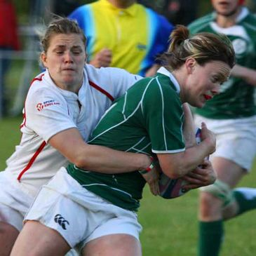 Ireland winger Lynne Cantwell is tackled in Drachten