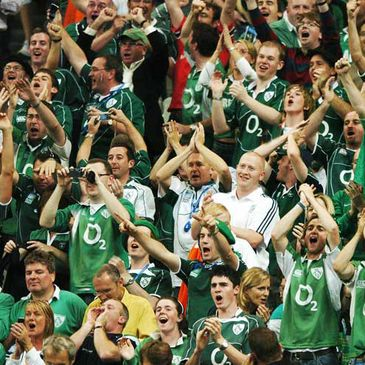 Ireland fans celebrating a try