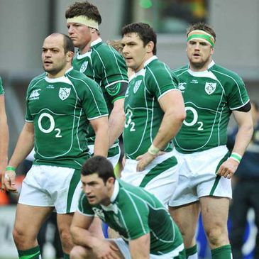 The Ireland team wait for a penalty to be taken at Croke Park