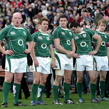 Dejected Ireland players after the loss to Wales