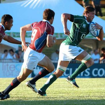 Ireland 'A' flanker Neil Best carries forward against the USA