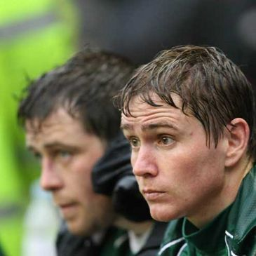 Marcus Horan and Eoin Reddan watch the closing stages of Ireland's defeat to England